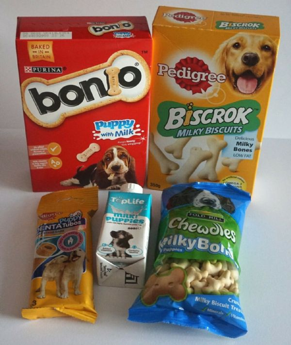 PUPPY TREAT SELECTION PACK OF PUPPY TREAT ESSENTIALS BISCUITS CHEWS MILK